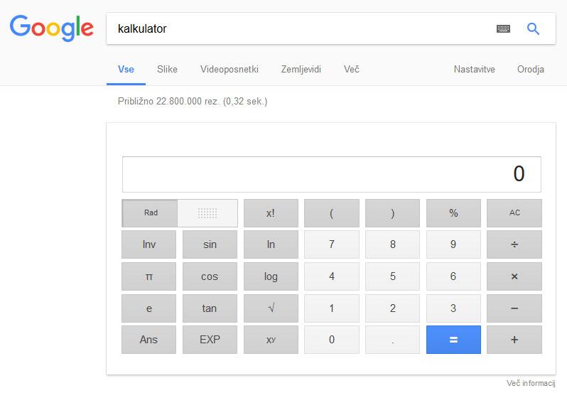 Google iskanje - kalkulator