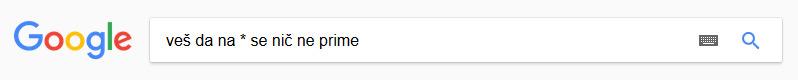Google - iskanje nepopolne fraze
